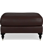 Bedford Ottoman, Tuscan Leather, Solid, Chocolate