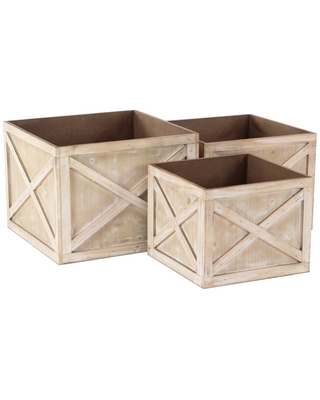 Set of 3 Farmhouse Faded Wooden Square Crate Planters - Olivia & May
