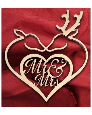 """Mr. and Mrs. Deer Heart Wooden Wedding Sign aMonogram Art Unlimited Size: 12"""" H x 12"""" W x 0.25"""" D"""