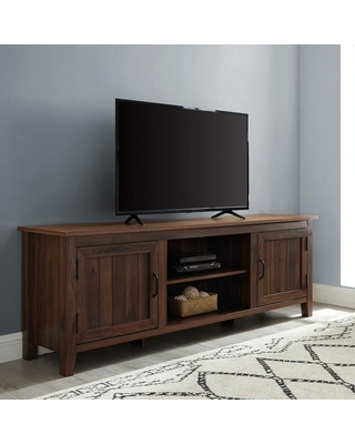Walker Edison Furniture Company 70 in. Dark Walnut Composite TV Stand Fits TVs Up to 78 in. with Storage Doors