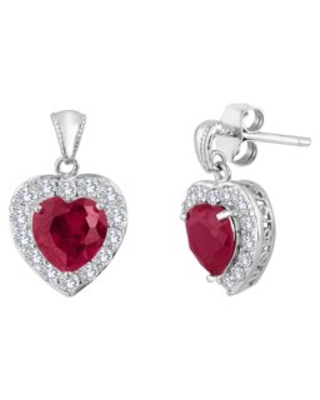 Lab Created Ruby and Created White Sapphire Sterling Silver Earrings