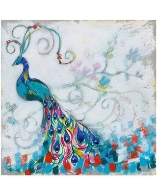 """Winston Porter 'Confetti Peacock II' Acrylic Painting Print on Wrapped Canvas WNPO3599 Size: 35"""" H x 35"""" W x 2"""" D"""