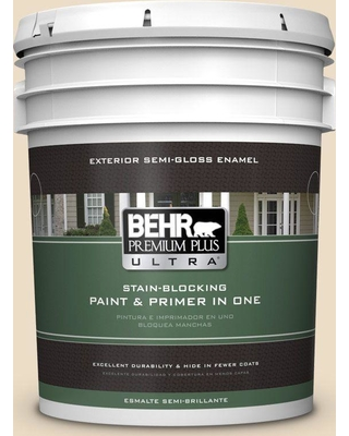 BEHR ULTRA 5 gal. #710C-2 Raffia Cream Semi-Gloss Enamel Exterior Paint and Primer in One