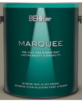 BEHR MARQUEE 1 gal. #PPF-43 Shady Oak Semi-Gloss Enamel Interior Paint and Primer in One