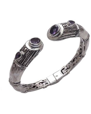 Sterling Silver Bamboo Motif Cuff Bracelet with Amethyst