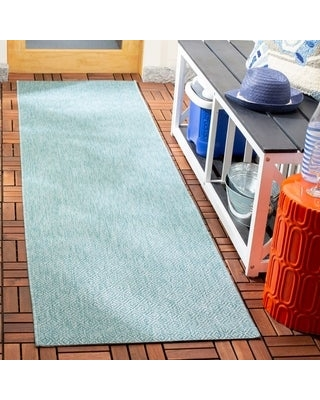 "Safavieh Courtyard Janyce Indoor/ Outdoor Rug (2'3"" x 12' Runner - Aqua/Aqua)"