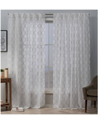 """54""""x96"""" Bradford Sheer Woven Ogee Embellished Hidden Tab Top Curtain Panel Pair White/Blush - Exclusive Home"""