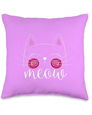 Cute Cat Funny Shop Meow Cute Face Funny Quote for Cat Fans Throw Pillow, 16x16, Multicolor