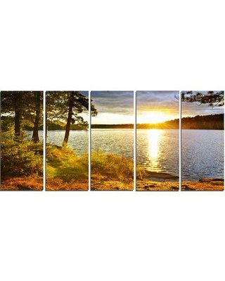Design Art 'Beautiful View of Sunset Over Lake' 5 Piece Photographic Print on Wrapped Canvas Set PT14301-401