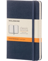 "Moleskine Pocket Notebook, Hard Cover, College Ruled, 192 sheets, 3.5"" x 5.5"" - Blue"