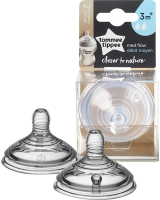 Tommee Tippee Closer To Nature Medium Flow Baby Bottle Nipples - 2pk