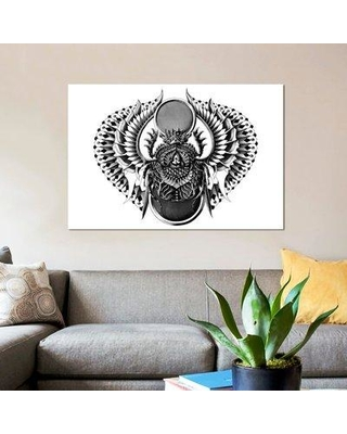 """East Urban Home 'Egyptian Scarab' Graphic Art Print on Canvas ERBH3647 Size: 40"""" H x 60"""" W x 1.5"""" D"""