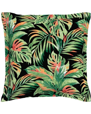 allen + roth Floral Green, Black, and Coral Square Throw Pillow Polyester | TK0F224B-9C6