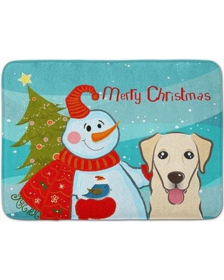 The Holiday Aisle Snowman with Retriever Rectangle Memory Foam Bath Rug THLA5033