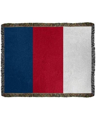 """East Urban Home Los Angeles Anaheim Baseball Woven Cotton Throw FCOL8980 Size: 50"""" W x 60"""" L Color: Navy Blue/Red/White"""