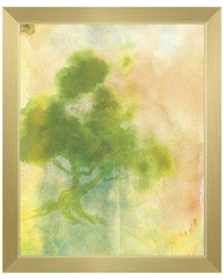 """Click Wall Art Chartreuse Sumi Tree Framed Painting Print on Canvas CCEE2272 Size: 16.5"""" H x 13.5"""" W Format: Gold Framed"""