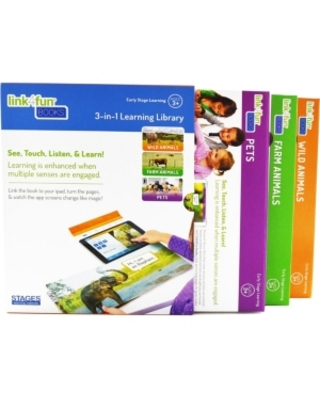 Stages Learning Materials Linf4fun Master Pack of 3 Animal Interactive Board Book With Free iPad App