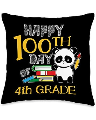 VepaDesigns 100 Days of School Cloth Students Gift Happy 4th Grade Panda Books Cute 100th Days Of School Gift Throw Pillow, 16x16, Multicolor