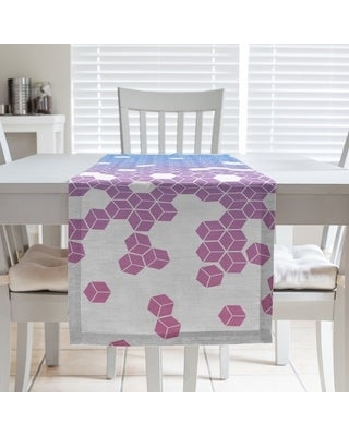 Tumbling Cube Pattern Table Runner (16 x 72 - Polyester - Blue & Pink)