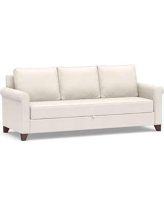 Cameron Roll Arm Upholstered Pull-Up Platform Sleeper Sofa, Polyester Wrapped Cushions, Denim Warm White