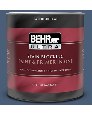 BEHR ULTRA 1 qt. #BIC-52 Loyalty Flat Exterior Paint and Primer in One