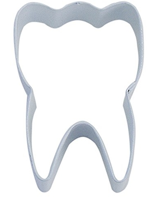 "R&M Tooth 3"" Cookie Cutter White with Brightly Colored, Durable, Baked-on Polyresin Finish"