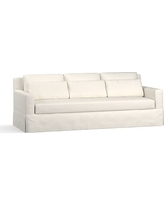 """York Square Arm Slipcovered Deep Seat Grand Sofa 94"""" with Bench Cushion, Down Blend Wrapped Cushions, Performance Twill Warm White"""