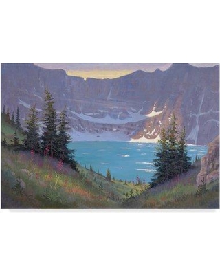 """Trademark Art 'Iceberg Lake Below' Oil Painting Print on Wrapped Canvas ALI37832-CGG Size: 30"""" H x 47"""" W x 2"""" D"""