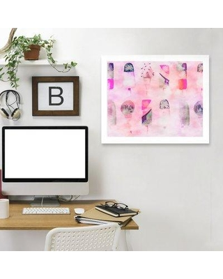 """East Urban Home 'Popsicle Icecream 2' Framed Graphic Art Print EAUU9582 Size: 19"""" H x 25"""" W x 1"""" D Frame Color: White"""
