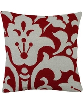 123 Creations Damask Foral Needlepoint Wool Throw Pillow C8.18x18 Color: Red