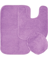 Garland 3 Piece Glamor Nylon Washable Bath Rug Set - Purple