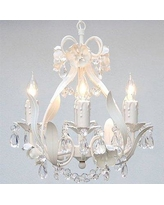 Harrison Lane 4 - Light Candle Style Classic/Traditional Chandelier w/ Wrought Iron Accents in Gray/White | Wayfair J2-1282