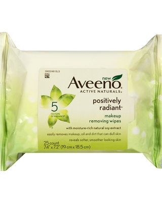 Aveeno Positively Radiant Oil Free Makeup Removing Wipes - 25ct