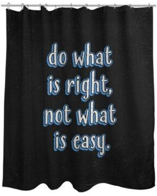 East Urban Home Do What Is Right Quote Chalkboard Style Shower Curtain Set EBKM6485 Color: Blue