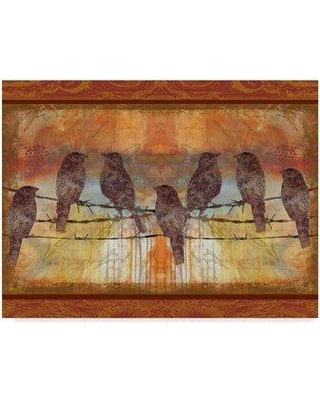 """Winston Porter 'Crimson Birds' Acrylic Painting Print on Wrapped Canvas WNST5743 Size: 18"""" H x 24"""" W x 2"""" D"""