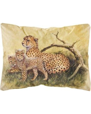 World Menagerie Sneed Cheetahs by Daphne Baxter Fabric Indoor/Outdoor Throw Pillow BI148853
