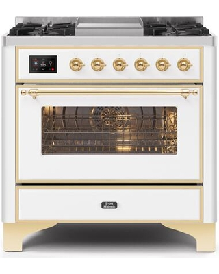"""UM09FDNS3WHG 36"""" Majestic II Series Dual Fuel Natural Gas Range with 6 Burners and Griddle 3.5 cu. ft. Oven Capacity TFT Oven Control Display"""