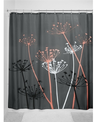 Shower Curtain Interdesign Floral Gray Coral Pink