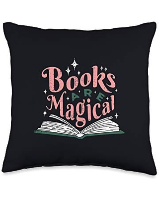Bury Me In Books Apparel Books Are Magical Bookworm Gift for Teachers Librarians Throw Pillow, 16x16, Multicolor