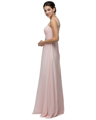 Dancing Queen Bridal - 9541 Ruched Illusion Sweetheart Jewel-banded Chiffon A-line Dress