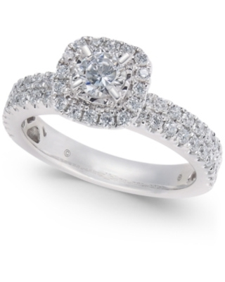 Diamond Halo Engagement Ring (1 ct. t.w) in 14k White Gold