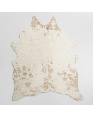 Ivory Printed Faux Cowhide Area Rug: White - Polyester - 5' x 8' by World Market