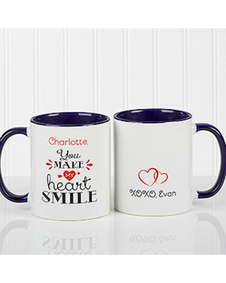Personalized Couples Coffee Mugs - You Make My Heart Smile - Blue