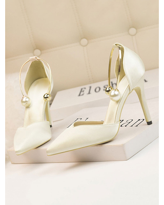 Milanoo High Heel Party Shoes Olive Pointed Toe Stiletto Heel Sequins Evening Shoes Ankle Strap Heels