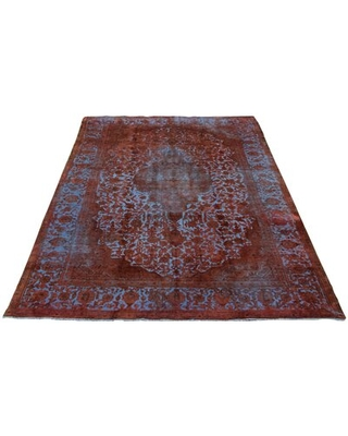 """One-of-a-Kind Hand-Knotted 1990s Dark Copper/Aqua 8'10"""" x 13'1"""" Wool Area Rug"""