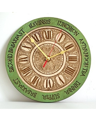 Spectacular Sales For Personalized Meal Times Wooden Wall Clock Unique Kitchen Vintage Style Decor Emerald Green Housewarming Victorian Gift Wall Decor Anniversary Gift Meal Planning Kitchen Clocks Wall