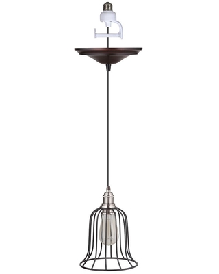 Worth Home Products Instant Pendant 1-Light Recessed Light Conversion Kit Brushed Nickel and Brushed Bronze Bell Cage Shade