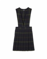 French Toast Plus Girls V-Neck Pleated Plaid Jumper - Green Plaid