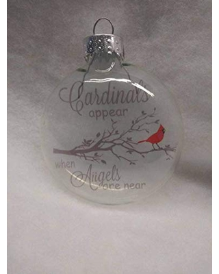 """Cardinals appear when Angels are near 3"""" glass disc Christmas ornament"""