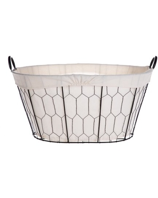 Better Homes & Gardens Oval Chicken Wire Laundry Basket With Liner, Black